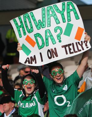 ROTORUA, NEW ZEALAND - SEPTEMBER 25:  Ireland fans enjoy the atmosphere prior to the IRB 2011 Rugby World Cup Pool C match between Ireland and Russia at Rotorua International Stadium on September 25, 2011 in Rotorua, New Zealand.  (Photo by Hagen Hopkins/Getty Images)