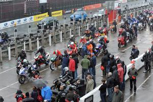 Tthe rideout of fans begins during the tribute to Mark Buckley