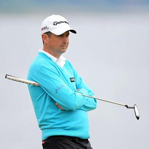 Peter Lawrie looks on during his second round of the Scottish Open