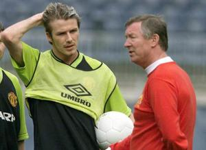 <b>David Beckham v Alex Ferguson</b><br/> Possibly the most notorious and high-profile falling out occurred at Old Trafford. The relationship breakdown between Beckham and Ferguson was gradual and prompted by Beckham's increasingly public lifestyle. But it came to a head following a 2-0 FA Cup defeat to Arsenal at Old Trafford in February 2003, when an argument in the dressing room ended with Ferguson kicking a stray boot which hit Beckham above the eye, needing stitches which Beckham made sure everyone saw. Beckham left for Real Madrid that summer.