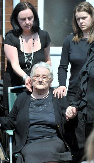 Bobby Moffett's mother at his funeral. June 4 2010