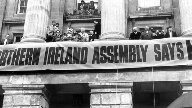 Anglo Irish Agreement Protest Rally outside Belfast City Hall, with Unionists showing a united front. 'Ulster Says No'.  10/12/1985