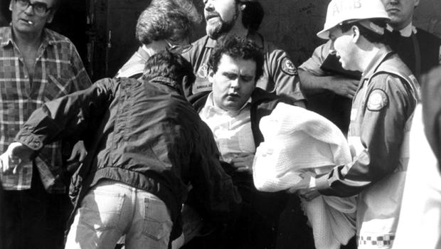 The scene outside Graham's bookmakers shop, North Queen Street after a shooting where five men were injured. 29/04/1993