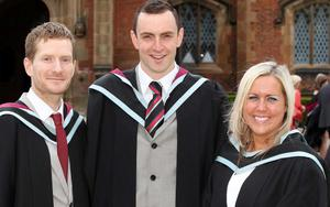 Graduations at Queen's University Belfast.  Left to right.  Paul Hardy, Jonny Hooper and Catherine Hennighan all from Belfast and who graduated with a BSW in Social Work.
