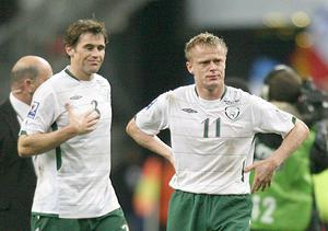 <b>Kevin Kilbane - 9</b><br /> Must like Paris as this was his best game in the current qualifying campaign. Made a telling pass to Duff to set up the Keane goal and patrolled the left flank much better than he had in Croke Park. Will we see the long-serving veteran in a green jersey again?