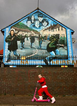 A republican mural in the Ballymurphy estate in Belfast on March 14, 2009