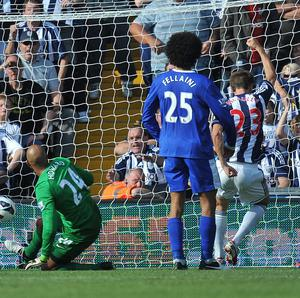 Gareth McAuley grabbed West Brom's second against Everton