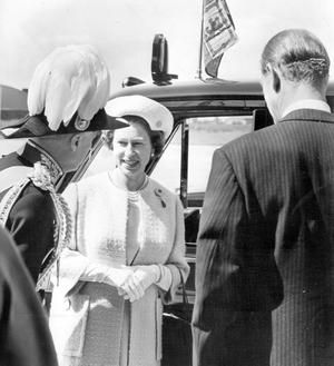 The Queen, Elizabeth 11. 1966 visit.The Queen and the Duke of Edinburgh with the Governor, Lord Erskine, before leaving Aldergrove for Belfast to open the new Queen Elizabeth Bridge.  4/7/1966
