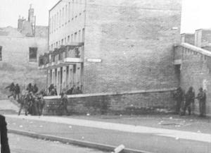 A scene showing  British paratroopers near Glenfada Park in Derry where Bloody Sunday took place.