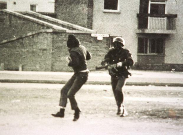 A scene showing a British paratrooper near Glenfada Park in Derry where Bloody Sunday took place.