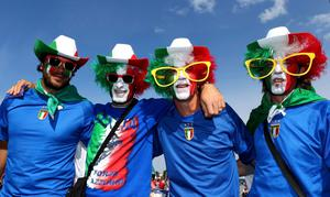 GDANSK, POLAND - JUNE 10:  Italian fans soak up the atmopshere ahead of the UEFA EURO 2012 group C match between Spain and Italy at The Municipal Stadium on June 10, 2012 in Gdansk, Poland.  (Photo by Michael Steele/Getty Images)