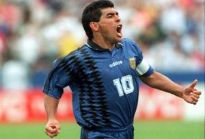 <b>Diego Maradona</b> The Argentine produced a manic celebration, screaming like a man possessed into a camera, after scoring the third goal for Argentina against Greece in the 1994 World Cup in USA. His state of mind aroused suspicions, he was later sent home after a positive drug test.