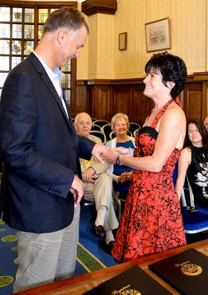 """The wedding of Karen Bishop and Ian Medland in Belfast City Hall  <p><b>To send us your Wedding Pics <a  href=""""http://www.belfasttelegraph.co.uk/usersubmission/the-belfast-telegraph-wants-to-hear-from-you-13927437.html"""" title=""""Click here to send your pics to Belfast Telegraph"""">Click here</a> </a></p></b>"""