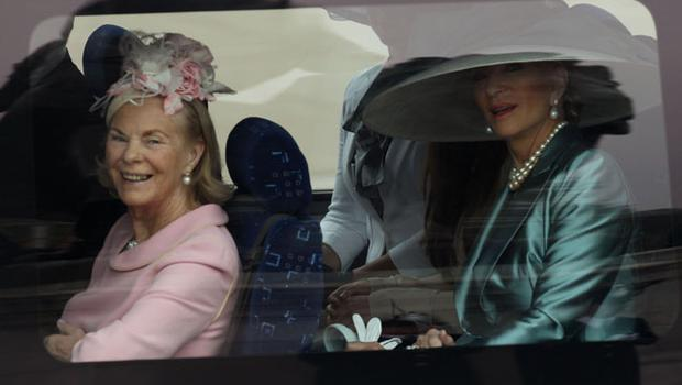 LONDON, ENGLAND - APRIL 29:  Katharine, Duchess of Kent (L) and Princess Michael of Kent travel past Buckingham Palace on their way to attend the Royal Wedding of Prince William to Catherine Middleton at Westminster Abbey on April 29, 2011 in London, England. The marriage of the second in line to the British throne is to be led by the Archbishop of Canterbury and will be attended by 1900 guests, including foreign Royal family members and heads of state. Thousands of well-wishers from around the world have also flocked to London to witness the spectacle and pageantry of the Royal Wedding.  (Photo by Peter Macdiarmid/Getty Images)