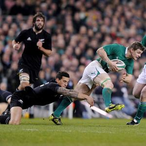 Sonny Bill Williams (centre left) has pinpointed fellow centre Brian O'Driscoll (centre right) as Ireland's dangerman