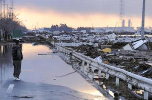 A man looks over tsunami-drifted debris and mud filling rice paddies in Sendai, Miyagi Prefecture, Saturday morning, March 12, 2011 after Japan's biggest recorded earthquake slammed into its eastern coast