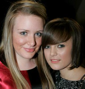Rachel Chambers and Hannah Montgomery pictured at City of Derry YFC annual dinner held in the Bready Cricket Club on Saturday evening