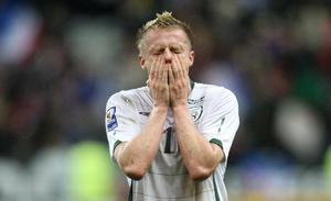 <b>Damien Duff - 9</b><br /> Dovetailed superbly with his oul' mucker Keane for the wonderfully contrived Irish goal. A consistent harassment to Bacary Sagna, offering true width while not slow in joining infield