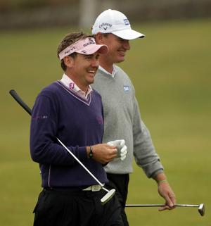 Ian Poulter and Ernie Els at The Open. July 2010