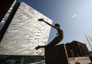 BELFAST, NORTHERN IRELAND - MARCH 27:  A sculpture entitled 'Titancia' marks the entrance to the Titanic Belfast Experience on March 27, 2012 in Belfast, Northern Ireland. The Titanic Belfast Experience is a new £90 million visitor attraction opening on March 31, 2012. One hundred years ago the maiden voyage of the ill-fated passenger liner Titanic sank after hitting an iceberg in the Atlantic on the night of April 14, 1911 with the loss of 1517 lives.  (Photo by Peter Macdiarmid/Getty Images)