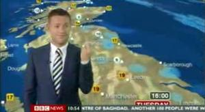 Weatherman Tomasz Schafernaker makes a rude gesture on air