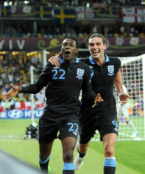Danny Welbeck celebrates with Andy Carroll (right) after scoring the winning goal during the UEFA Euro 2012 Group D match at the Olympic Stadium, Kyiv, Ukraine.