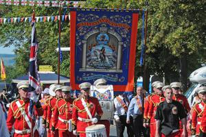 The New Stevenson band from Scotland leads Ballykelly LoL No. 699 through Limavady on tuesday. Picture Martin McKeown. Inpresspics.com. 12.7.11
