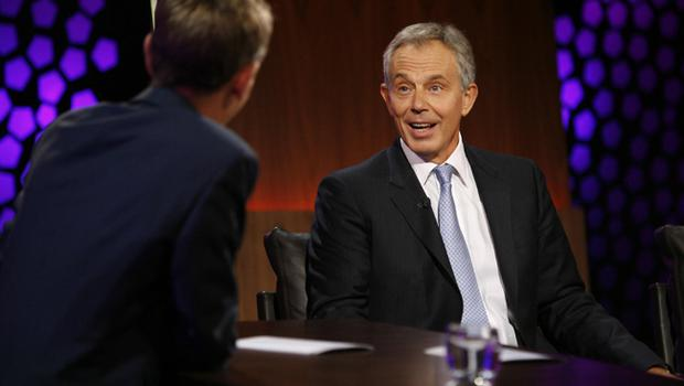 Tony Blair during an interview with Ryan Turbidy on The Late Show at RTE TV studios, Dublin, as the former Prime Minister continues to promote his new book, 'A Journey'