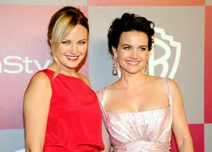 BEVERLY HILLS, CA - JANUARY 16:  Actors Malin Akerman and Carla Gugino arrive at the 2011 InStyle And Warner Bros. 68th Annual Golden Globe Awards post-party held at The Beverly Hilton hotel on January 16, 2011 in Beverly Hills, California.  (Photo by Kevork Djansezian/Getty Images)
