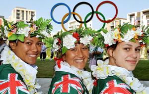LONDON, ENGLAND - JULY 26:  Cook Islands atheletes (L-R) Patricia Taea, Ella Nicholas and Celeste Brown relax in Athletes Village after their official welcome to the Athletes' Village at the Olympic Park on July 26, 2012 in London, England. (Photo by John Stillwell - WPA Pool / Getty Images)