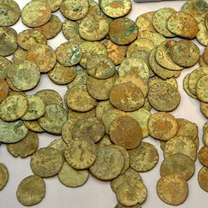 Some of the collection of 52,503 silver and copper alloy coins in the Frome Hoard which is to go on show at the Museum of Somerset