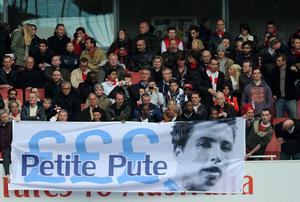 LONDON, ENGLAND - APRIL 08:  Arsenal fans hold up a banner for former Arsenal player Samir Nasri during the Barclays Premier League match between Arsenal and Manchester City at Emirates Stadium on April 8, 2012 in London, England.  (Photo by Michael Regan/Getty Images)