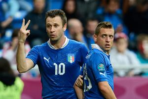 POZNAN, POLAND - JUNE 14: Antonio Cassano of Italy healps line up the wall during the UEFA EURO 2012 group C match between Italy and Croatia at The Municipal Stadium on June 14, 2012 in Poznan, Poland.  (Photo by Claudio Villa/Getty Images)