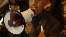 Democracy advocate Mohamed ElBaradei addresses the crowd at Tahrir Square in Cairo (AP)