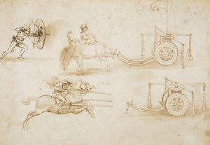 "DA Vinci's ""Designs for chariots and war weapons""To celebrate the Diamond Jubilee of Her Majesty The Queen, ten of the Royal Collections finest drawings by the Renaissance master Leonardo Da Vinci will be shown at the Ulster Museum this summer from Friday 15 June - Monday 27 August.    The exhibition has been selected to show the extraordinary scope of Leonardos interests  painting and sculpture, engineering, botany, mapmaking, hydraulics and anatomy.Almost all Leonardos great projects were never completed and it is through his drawings, such as the magnificent examples included in this exhibition, that we gain a greater understanding of his remarkable achievements."