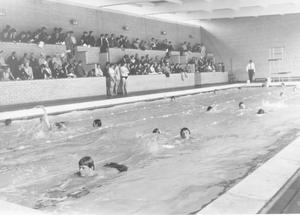 Speech Day. A swimming display in the new pool at Campbell College, Belfast was well attended on Speech Day at the College, 1969.