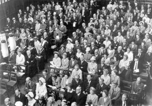 Parents and friends attending Speech Day at Campbell College, Belfast, 1969.