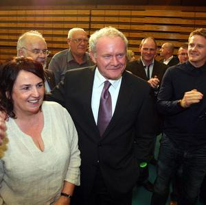 Sinn Fein's Martin McGuinness with his wife Bernie at the count centre in Ballymena, Co Antrim