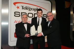 Sports Person with a Disability: Jason Smyth and Michael McKillop. Jason Smyth's grandfather, Robert Smyth, left, and Michael McKillop receives their award from John Spottiswoode, MD Disability Needs Ltd