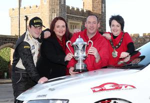 Jonny Greer (left) with Leona Barr, Junction One centre manager, Ulster Rally clerk of the course Michael Johnston and Mayor of Antrim councillor Pam Lewis