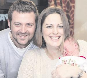 Baby Lucas Marshall with mum Anna and dad Paul