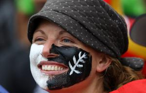 WELLINGTON, NEW ZEALAND - OCTOBER 02:  A New Zealand fan looks on during the IRB Rugby World Cup Pool A match between New Zealand and Canada at Wellington Regional Stadium on October 2, 2011 in Wellington, New Zealand.  (Photo by Alex Livesey/Getty Images)