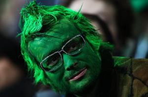 DUNEDIN, NEW ZEALAND - OCTOBER 02:  A fan enjoys the atmosphere during the IRB Rugby World Cup Pool C match between Ireland and Italy at Dunedin Stadium on October 2, 2011 in Dunedin, New Zealand.  (Photo by Warren Little/Getty Images)