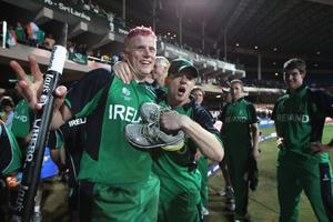 BANGALORE, INDIA - MARCH 02:  Kevin O'Brien of Ireland celebrates with Niall O'Brien