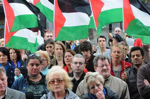 Some of the several hundred people in Derry's Guild Hall Square in protest at the raid on the aid flotilla which was travelling to Gaza