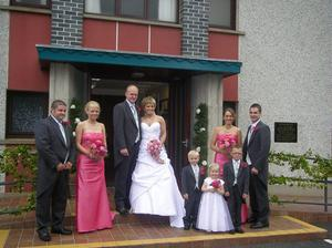 Pictured after their recent wedding at Moneyslane Free Presbyterian Church are Mr Mark Herron and Miss Glynis Wilson. Bridemaids were Mrs Alison Boyd and Miss Joy Herron and flower girl was Miss Amy Boyd. Best Man was Mr Gordon McCready and Groomsman Mr Clifford Wilson. Page boys were Master Matthew Boyd and Master Luke Cunningham. Photography was Lloyd Toal, Rathfriland.