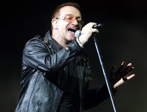 Bono of U2 performs onstage on the first night of their 360 tour held at Camp Nou in Barcelona