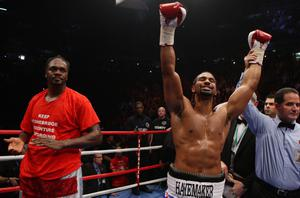 David Haye celebrates victory over Audley Harrison during the WBA World Heavyweight Championship Title fight at the MEN Arena, Manchester. PRESS ASSOCIATION Photo. Picture date: Saturday November 13, 2010. David Haye has beaten Audley Harrison by third-round stoppage to retain his WBA heavyweight title in Manchester. See PA Story BOXING Manchester. Photo credit should read: Dave Thompson/PA Wire.