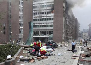 The scene after an explosion in Oslo, Norway, Friday July 22, 2011