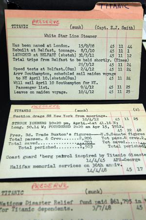 Index cards from The Associated Press Corporate Archive in New York listing stories written by the wire service about the Titanic.